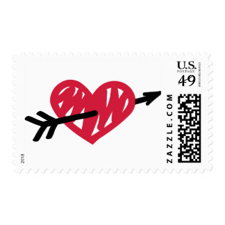 Red heart arrow postage stamps