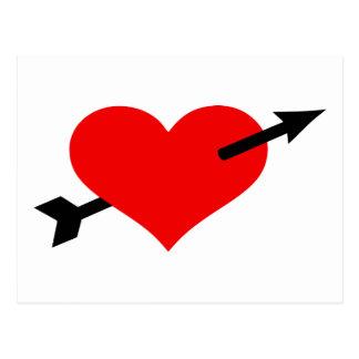 Red heart arrow postcard