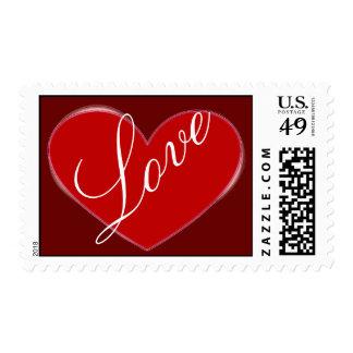 Red Heart Attractive Script Love Wedding Postage