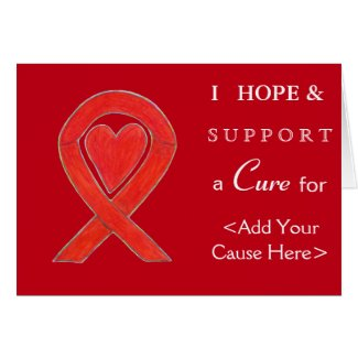 Red Heart Awareness Ribbon Custom Cause Note Cards