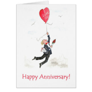 Red Heart Balloon Anniversary Card