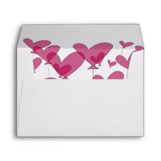 Red heart balloon lined wedding envelopes