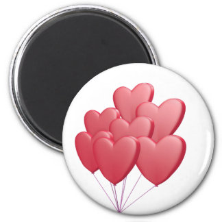 red heart balloons 2 inch round magnet