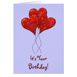 Red Heart Balloons Birthday Card
