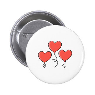 Red Heart Balloons. Pinback Buttons