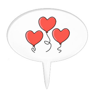 Red Heart Balloons Oval Cake Pick