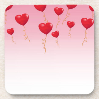 Red heart Balloons Drink Coaster