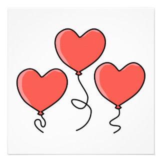 Red Heart Balloons Invitations