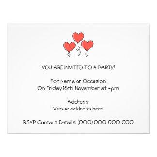 Red Heart Balloons Custom Invitations