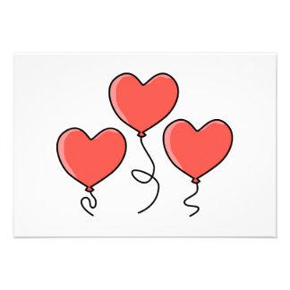 Red Heart Balloons Custom Announcements