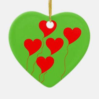 Red Heart Balloons Ornament