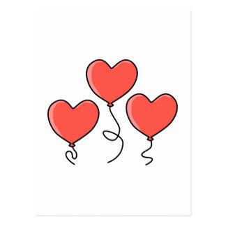 Red Heart Balloons. Postcard