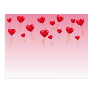 Red heart Balloons Postcard