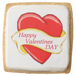 Red Heart Banner Shortbread Cookies Square Premium Shortbread Cookie