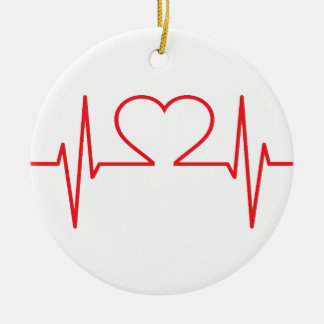 Red Heart Beat Line Ceramic Ornament