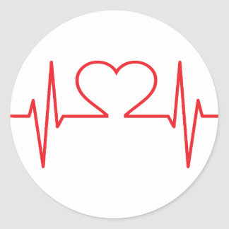 Red Heart Beat Line Classic Round Sticker