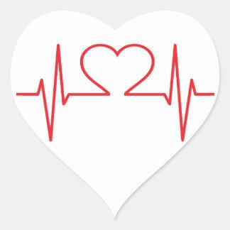 Red Heart Beat Line Heart Sticker