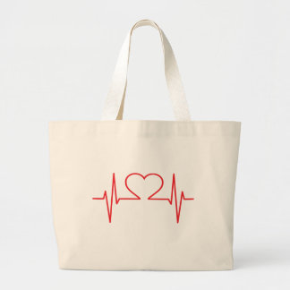 Red Heart Beat Line Large Tote Bag