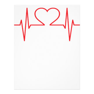 Red Heart Beat Line Letterhead