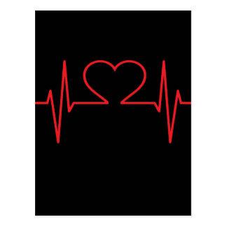 Red Heart Beat Line Postcard