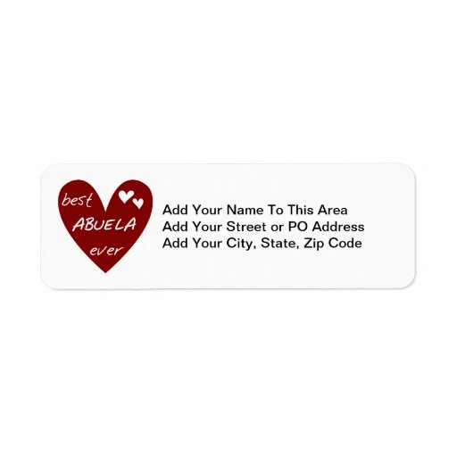 Red Heart Best Abuela Ever T-shirts and Gifts Custom Return Address Label