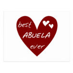 Red Heart Best Abuela Ever T-shirts and Gifts Postcards