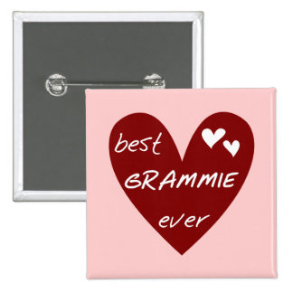 Red Heart Best Grammie Ever T-shirts and Gifts Pinback Button