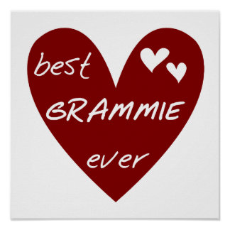 Red Heart Best Grammie Ever T-shirts and Gifts Poster
