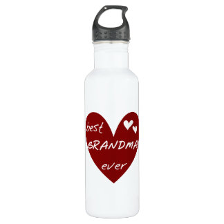 Red Heart Best Grandma Ever Liberty Stainless Steel Water Bottle
