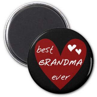 Red Heart Best Grandma Ever T-shirts and Gifts 2 Inch Round Magnet