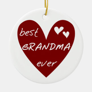 Red Heart Best Grandma Ever T-shirts and Gifts Ceramic Ornament