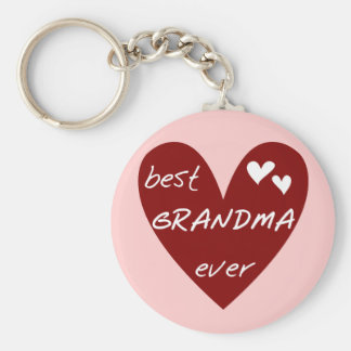 Red Heart Best Grandma Ever T-shirts Gifts Key Chain