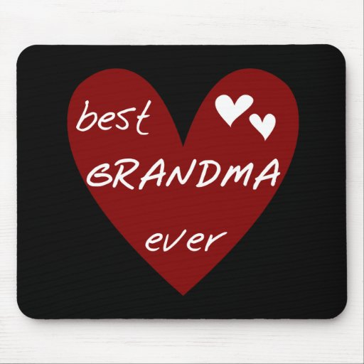 Red Heart Best Grandma Ever T-shirts Gifts Mouse Pad