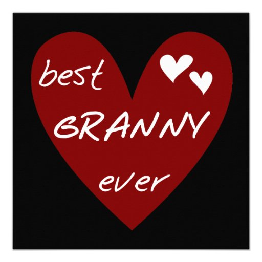 Red Heart Best Granny Ever Tshirts and Gifts Custom Invites