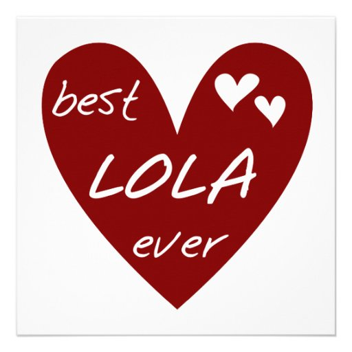 Red Heart Best Lola Ever T-shirts and Gifts Custom Invitations