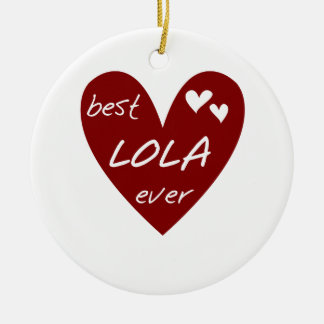 Red Heart Best Lola Ever T-shirts and Gifts Christmas Ornament