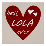 Red Heart Best Lola Ever T-shirts and Gifts Posters