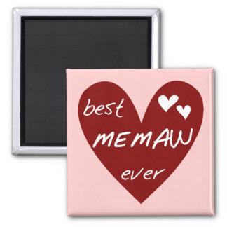 Red Heart Best Memaw Ever T-shirts and Gifts 2 Inch Square Magnet