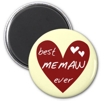 Red Heart Best Memaw Ever T-shirts and Gifts 2 Inch Round Magnet
