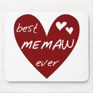 Red Heart Best Memaw Ever T-shirts and Gifts Mouse Pads