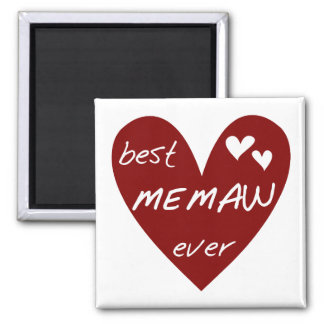 Red Heart Best Memaw Ever Tshirts and Gifts 2 Inch Square Magnet