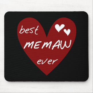 Red Heart Best Memaw Ever Tshirts and Gifts Mousepad