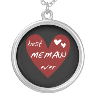 Red Heart Best Memaw Ever Tshirts and Gifts Silver Plated Necklace