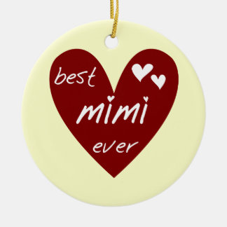 Red Heart Best Mimi Ever Tshirts and Gifts Ceramic Ornament