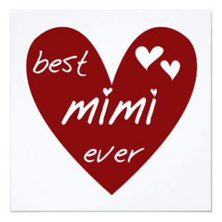 Red Heart Best Mimi Ever Tshirts and Gifts 5.25x5.25 Square Paper Invitation Card