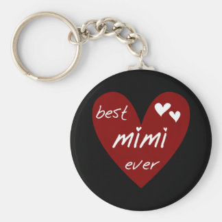 Red Heart Best Mimi Ever Tshirts and Gifts Key Chain