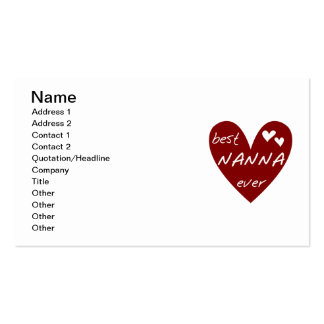 Red Heart Best Nanna Ever t-shirts and Gifts Business Cards