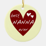 Red Heart Best Nanna Ever t-shirts and Gifts Double-Sided Ceramic Round Christmas Ornament