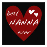 Red Heart Best Nanna Ever t-shirts and Gifts Custom Invites