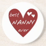 Red Heart Best Nanny Ever T-shirts and Gifts Beverage Coasters